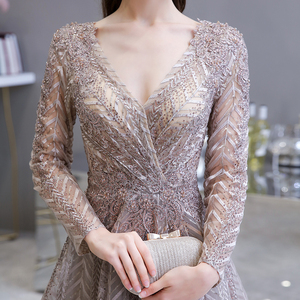 Image 4 - Dubai Luxury Long Sleeve Evening Dress 2020 Gorgeous V Neck Lace Pleated Beaded Crystal Sexy Formal Gown