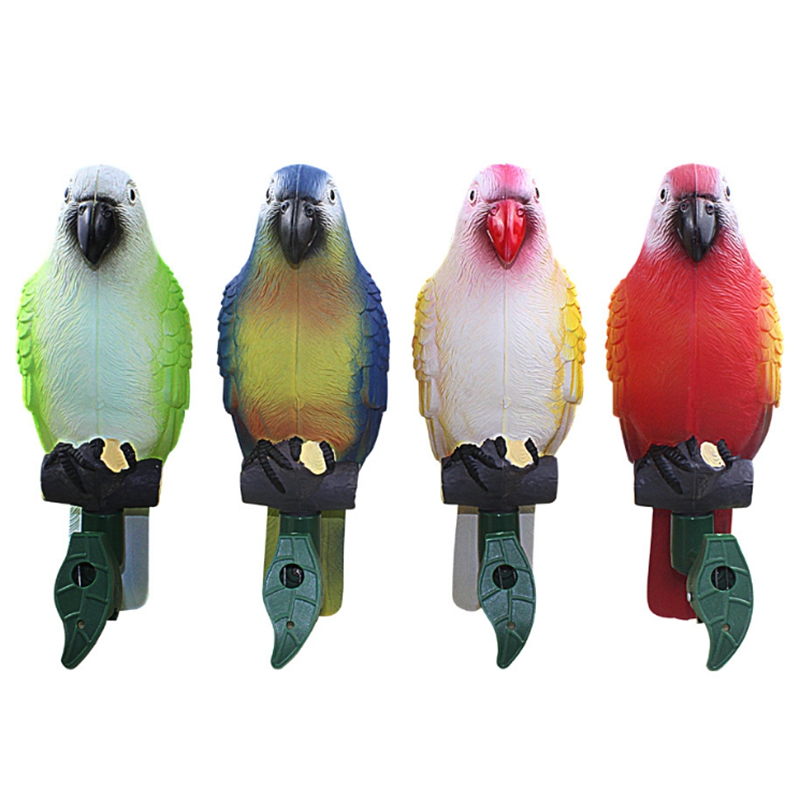 Top-4 Packs Waterproof Outdoor Solar Channel Lights Bird Parrot Lamp Led Night Light Garden Animal Ornaments Parrot Statue Outdo