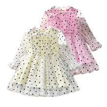 Baby Girls Dress 2020 New Summer Mesh Clothes Pink Applique Princess Children