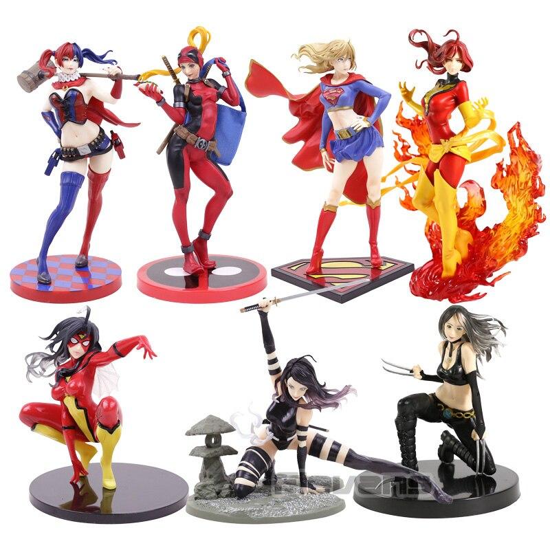 Bishoujo Statue Dark Phoenix Supergirl Lady Deadpool Spider Woman Psylocke X-23 PVC Figure Model Toy