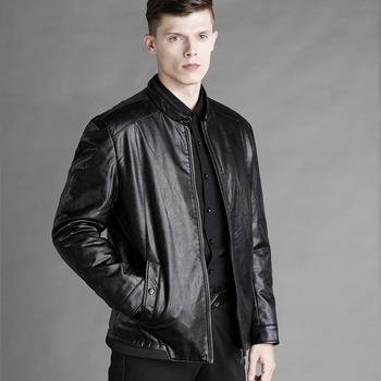 2019 Winter Fashion Men Leather Jacket High Quality Soft Woolen Lining Business PU Leather Jacket Men 2 Colors J9516-48878-A 1
