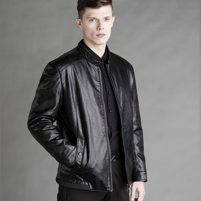 2019 Winter Fashion Men Leather Jacket High Quality Soft Woolen Lining Business PU Leather Jacket Men 2 Colors J9516-48878-A