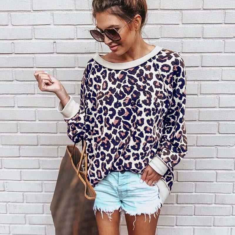 Bonita camiseta de leopardo con cuello redondo y estampado de cuello redondo para mujer Jersey Casual camiseta suelta - 4