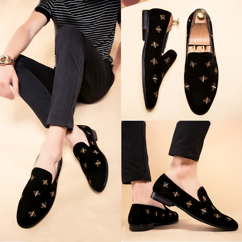 Designer Luxury Mens Black Casual Shoes Fashion Rivet Flat  Loafer Shoes For Man Tide Slip On Party Slip On Shoes