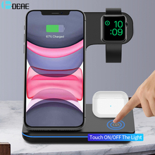 DCAE 3 in 1 15W Fast Wireless Charger Dock Stand for iPhone 11 XS XR X 8 Apple Watch iWatch 5 4 Airpods Pro Qi Charging Station