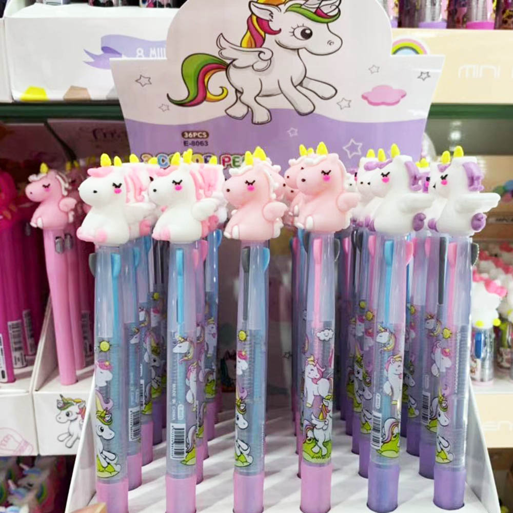2pcs Cartoon Unicorn Multicolor 3 In 1 Ballpoint Pen Kawaii Rainbow Pen Student Writing School Stationery Supply For Kids Gift
