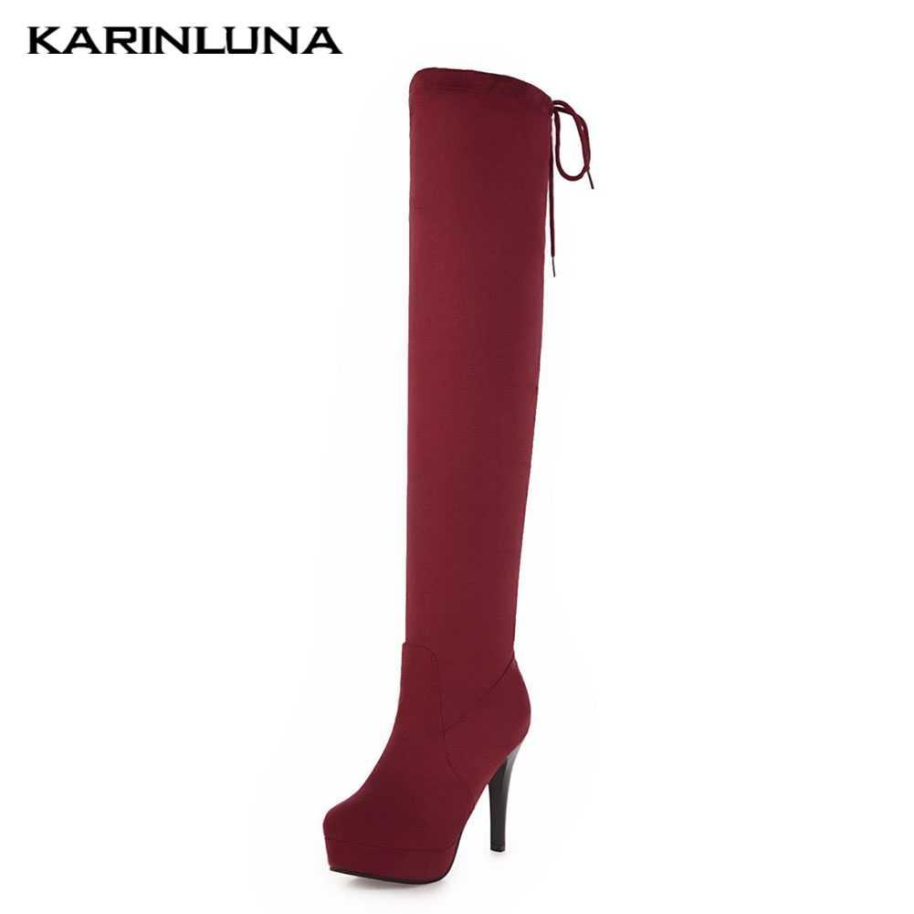 Karinluna Olgun Dropship Büyük Boy Ince Yüksek Topuklu Ayakkabılar Kadın Parti Seksi Diz Üzerinde çizmeler kadın ayakkabıları Elastik Çorap