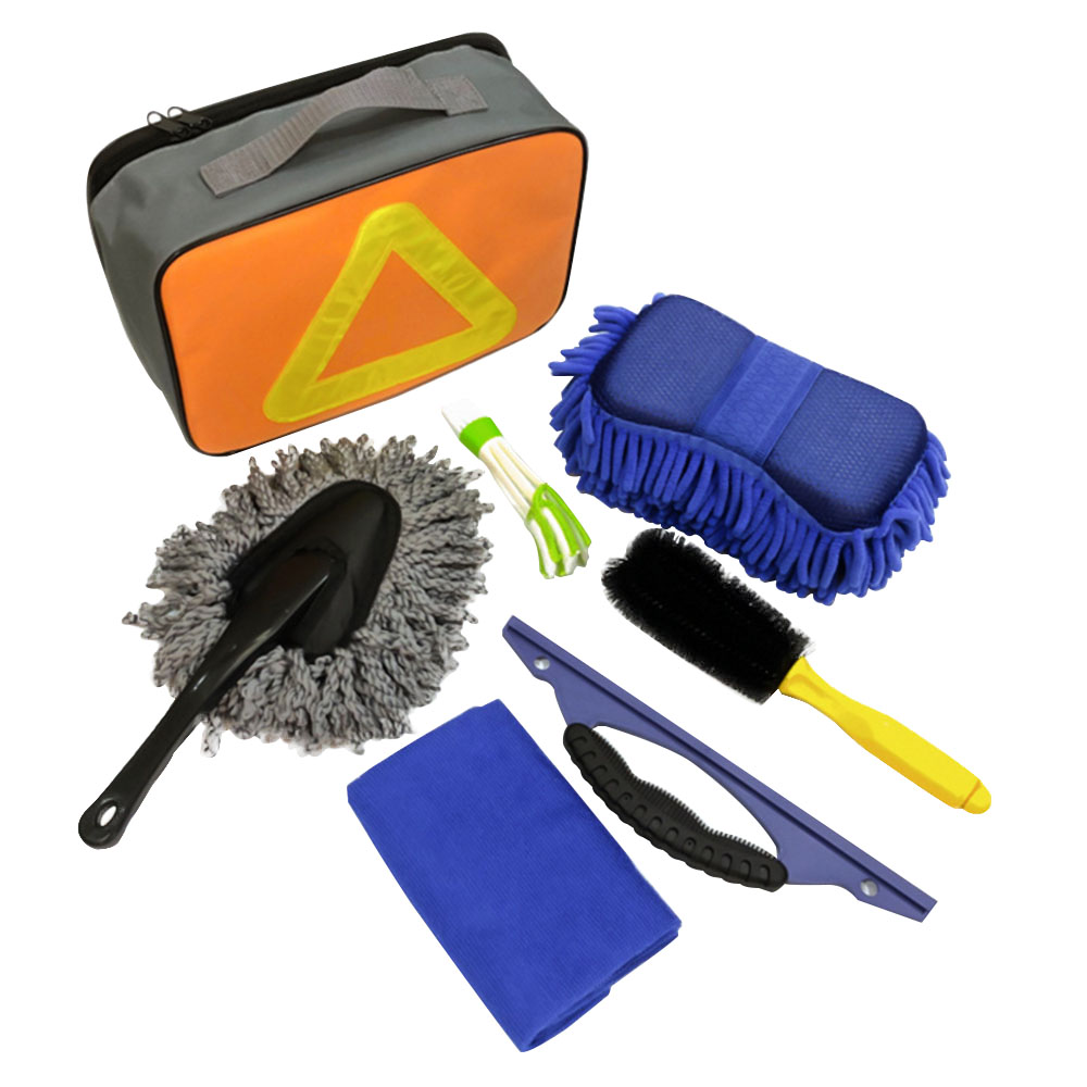 7pcs Car Cleaning Tools Car Interior Exterior Washing Cleaning Sponge Brush Towel With Storage Bag Car Decoration