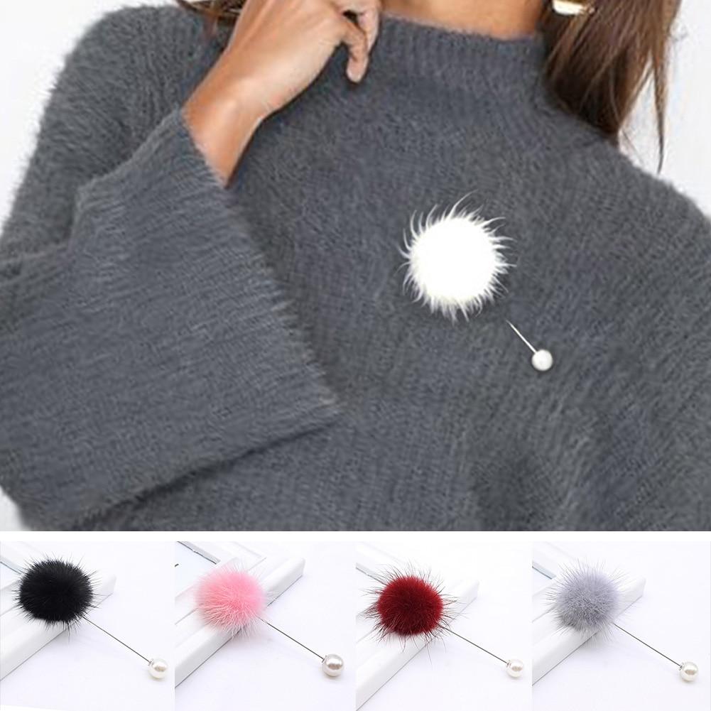 2019 nouveau mignon breloque simulé perle broche broches pour femmes coréen fourrure pompon boule Piercing revers broches collier broche bijoux cadeau