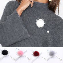 2019 new cute Charm Simulated Pearl Brooch Pins For Women Korean Fur pompom Ball Piercing Lapel Brooches Collar Pin Jewelry Gift(China)