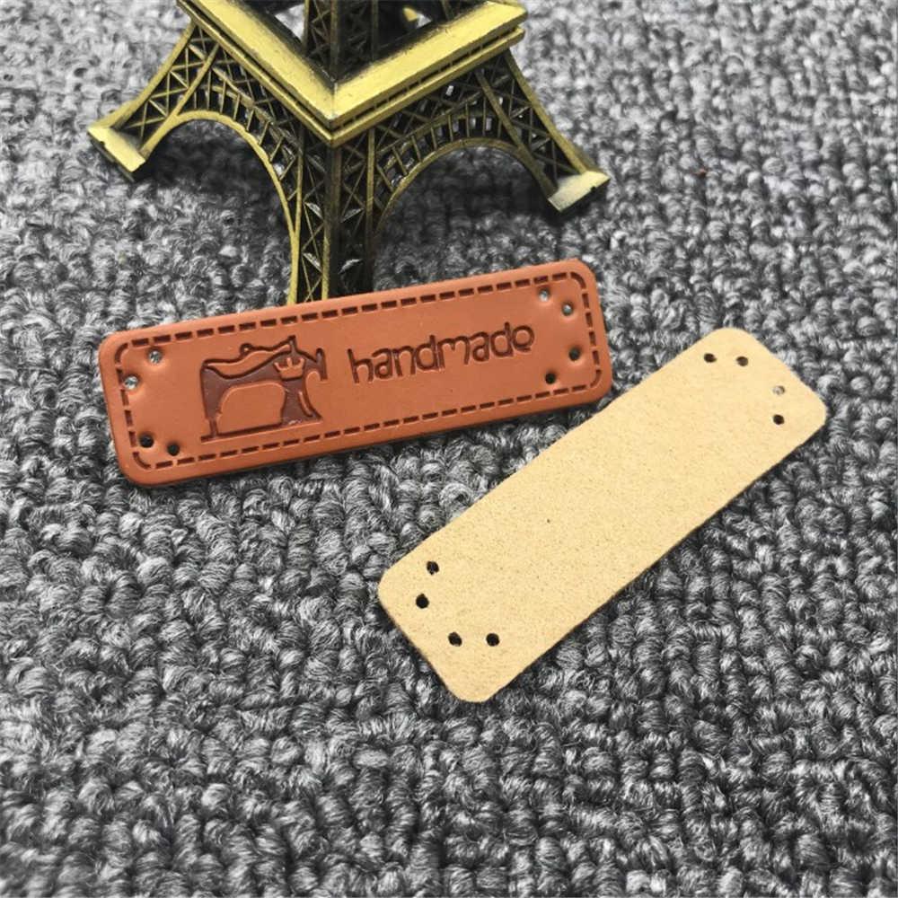 50pcs 1.5x5.0cm pu 수 제 가죽 레이블 봉 제 기계 로고와 함께 수 제 가죽 태그 선물 handwork 레이블에 대 한