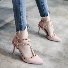 High-heeled sandal women 2019 summer new pointed fashion wild word buckle shoes stiletto high-heeled rivets ladies sandals 2018 summer new sandals female hollow word buckle high heeled shoes high heels wild with a single shoes women s shoes f072