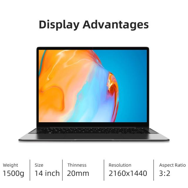 CHUWI GemiBook Pro 14 inch 2K Screen Laptop 12GB RAM 256GB SSD Intel Celeron Quad Core Windows 10 Computer with Backlit Keyboard 3