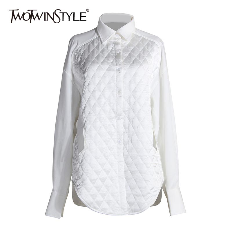 TWOTWINSTYLE Casual Pacthwork Argyle Women Blouses Lapel Collar Lantern Long Sleeve Loose Shirts For Female Clothing 2020 Tide