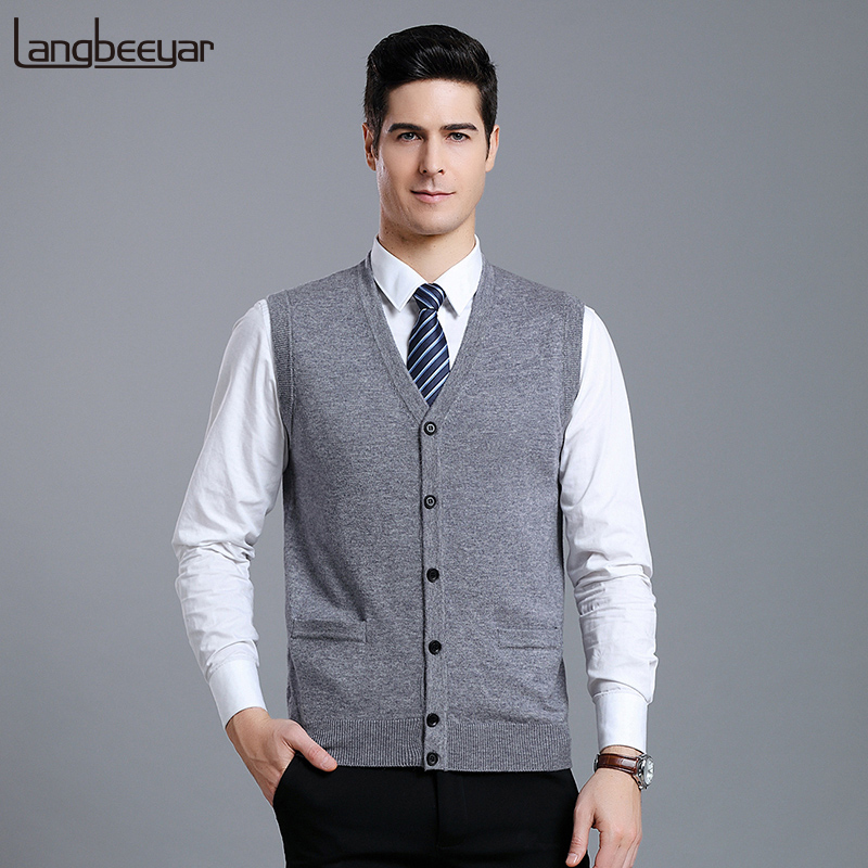 100% Wool New Fashion Sweater Men Cardigan V Neck Slim Fit Jumpers Knitwear Vest Sleeveless Korean Style  Casual Men Clothes