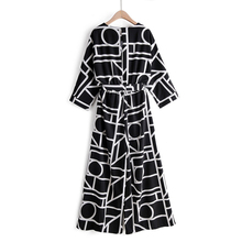 GOPLUS Jumpsuit Women White Black Print Round Neck Half Collar Geometric Loose Jumpsuits For 2019 Rompers Womens
