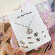 5PC/S One week necklace earrings set windmill heart shape elk fishtail 4 pairs of silver plated jewelry