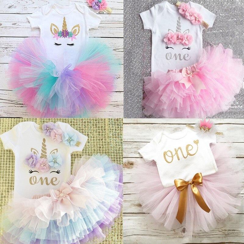 Girls Dress Tutu Birthday-Outfits Unicorn Party Boutique Newborn 1-Year 1st