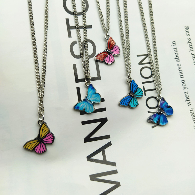 Korean Blue Gradient Butterfly Necklace for Women Girls Silver Color Butterflies Pendant Choker Necklaces Jewelry Gift Wholesale