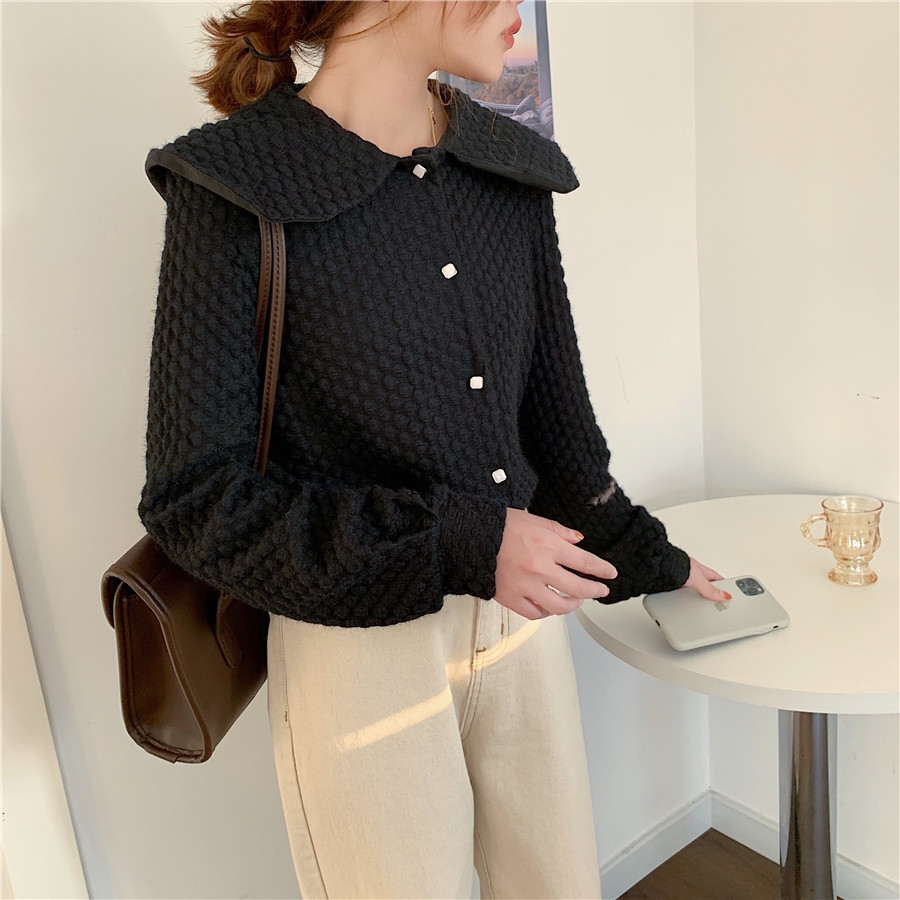 H450accad1f1a4d09b35879198ac14e4fZ - Spring / Autumn Big Lapel Long Sleeves French Lace Buttons Blouse