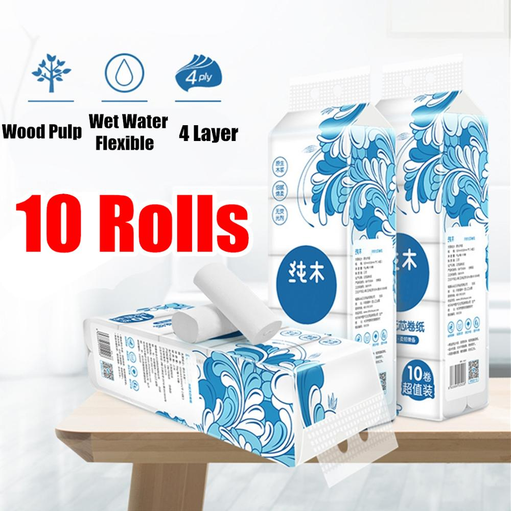 10 Rolls/Lot Fast Shipping Roll Paper Toilet Paper 4 Layers Bathroom Toilet Kitchen Paper Tissue Cleaning Paper Wood Pulp Paper