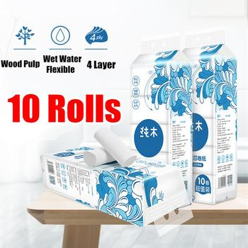 10 Rolls/Lot Fast Shipping Roll paper Toilet Paper 4 Layers Bathroom Toilet Kitchen Paper Tissue Cleaning Paper Wood Pulp Paper фото