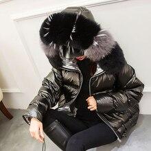 Большой натуральный мех, зимняя женская куртка,, парка, натуральный Лисий мех, зимнее пальто с капюшоном, белый утиный пух, куртка, женское водонепроницаемое пальто