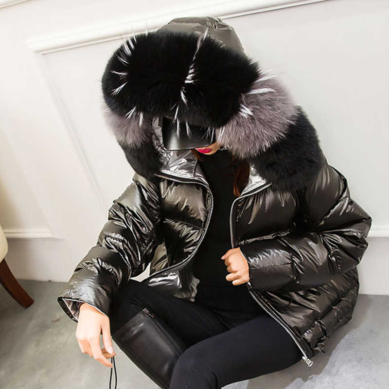 Large Real Fur Winter Jacket Women 2019 Parkas Natural Fox Fur Winter Coat Hooded White Duck Down Jacket Female Waterproof Coat
