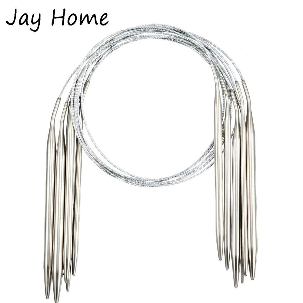 1 pçs 2-5mm agulhas de tricô circular de aço inoxidável 80cm crochê gancho agulhas de crochê fio agulhas diy tecelagem tricô ferramentas