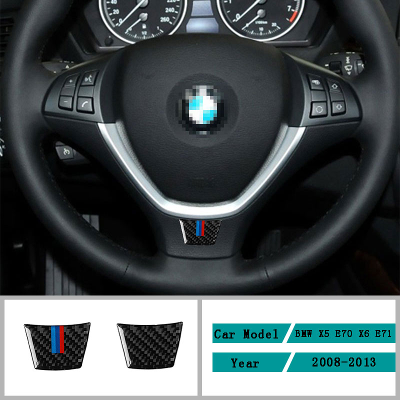 Carbon Fiber Car Accessories <font><b>Interior</b></font> Steering Wheel Modification Decoration Cover <font><b>Trim</b></font> Stickers For <font><b>BMW</b></font> X5 <font><b>E70</b></font> X6 E71 2008-2013 image