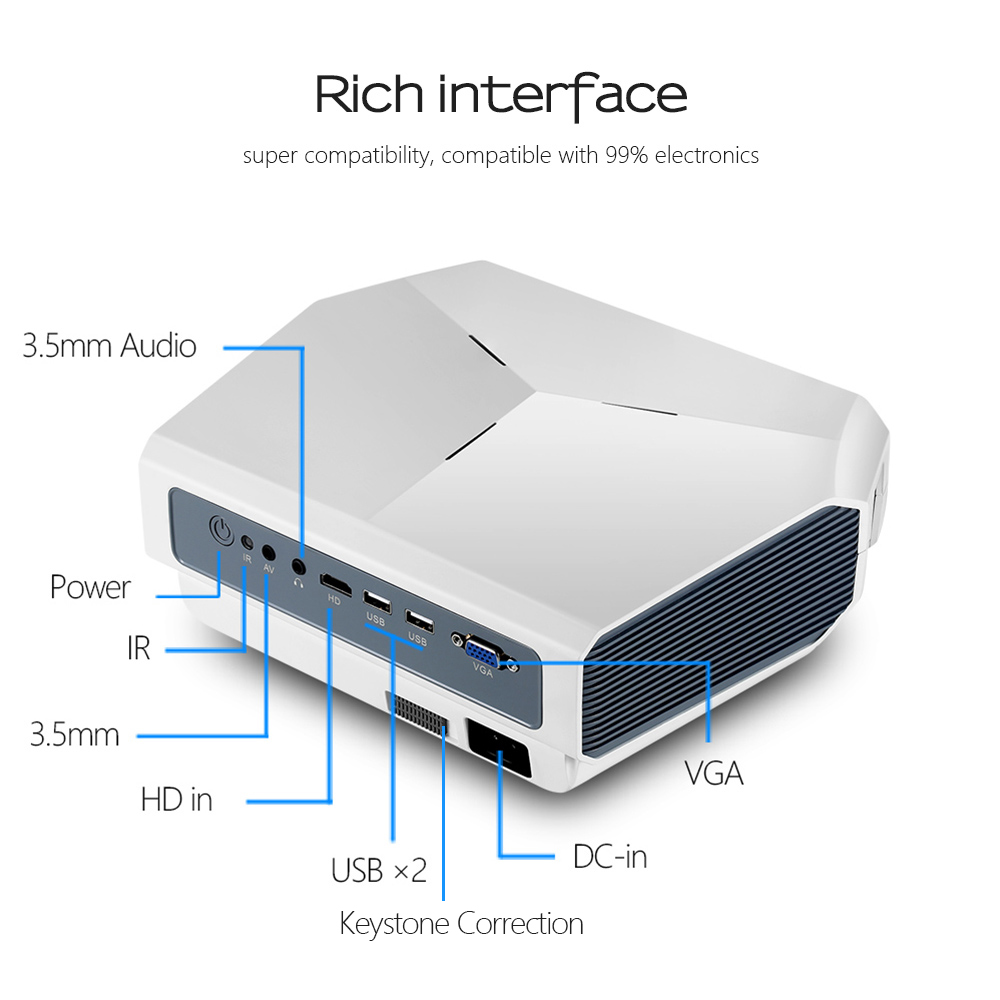 AUN LED Projektor ET10, 3800 lumen, 1280x720 P, Optional Mirroring/Android WIFI Projektor, unterstützung 1080P Video 3D MINI beamer - 6