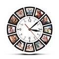 Создайте свой собственный 12 фотографий коллаж Instagram Пользовательские настенные часы для дома персонализированные семейные фотографии печ...