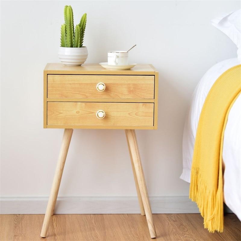 Mid Century Modern 2 Drawers Nightstand in Natural Bedroom Furniture HW59277