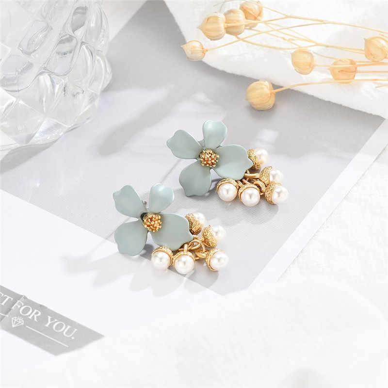 Серьги в виде цветка, жемчужные милые красивые Украшенные корейские популярные серьги в виде цветка, женские модные серьги для женщин pendientes #42