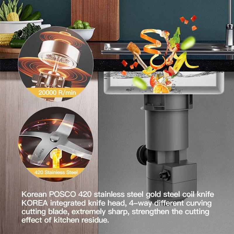 20000R/M мусорный Комбайн кухонный домашний полностью автоматический мокрый высокоскоростной дренаж из нержавеющей стали измельчитель мусора 2
