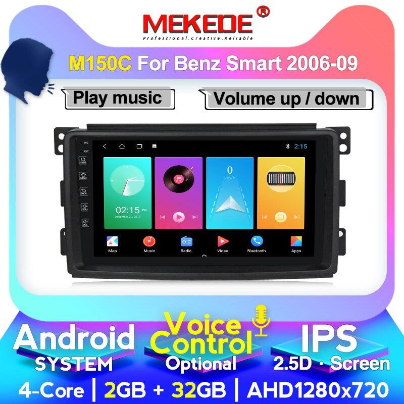 Mekede android para smart fortwo w451 2006 ~ 2009 rádio estéreo vídeo wifi carplay mapa gps nav navegação multimídia sem dvd