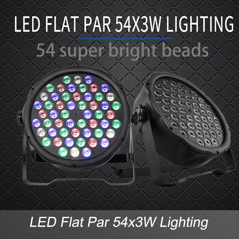LED שטוח Par 54x3W RGB צבע תאורת Strobe DMX בקר עבור דיסקו DJ מוסיקה מסיבת מועדון ריקוד רצפת בר מחשיך שלב אור