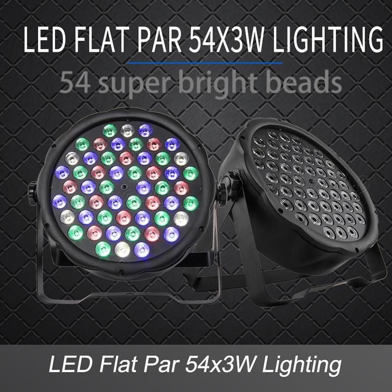 LED 플랫 파 54x3W RGB 컬러 조명 스트로브 DMX 컨트롤러 디스코 DJ 음악 파티 클럽 댄스 플로어 바 어둡게 무대 조명