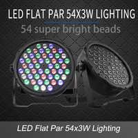 LED Flat Par 54x3W RGB Color Lighting Strobe DMX Controller For Disco DJ Music Party Club Dance Floor Bar Darkening Stage Light