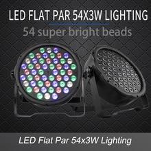 LED plano Par 54x3W RGB controlador de iluminación de Color estroboscópico DMX para discoteca DJ fiesta de música Club de baile Barra de suelo oscurecimiento Luz de escenario