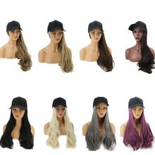 8 colors Adjustable Women Hats Wavy Hair Extensions With Black Cap