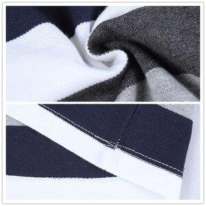 Image 5 - TFETTERS jesień męska koszulka w paski wzór nadruk liter z długim rękawem T shirt skręcić w dół kołnierz koszula T shirt duży rozmiar M   5XL