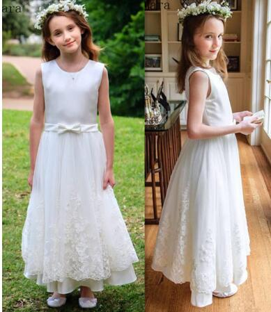 Cheap Satin A-Line Princess Dress with Lace Appliques Bow Zipper Back Custom Made Flower Girl Dress For Special Occasion Longo