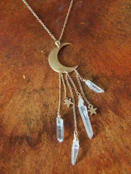 COLLAR COLGANTE luna y estrella de cuarzo Aura hecho a mano collar de piedra Natural
