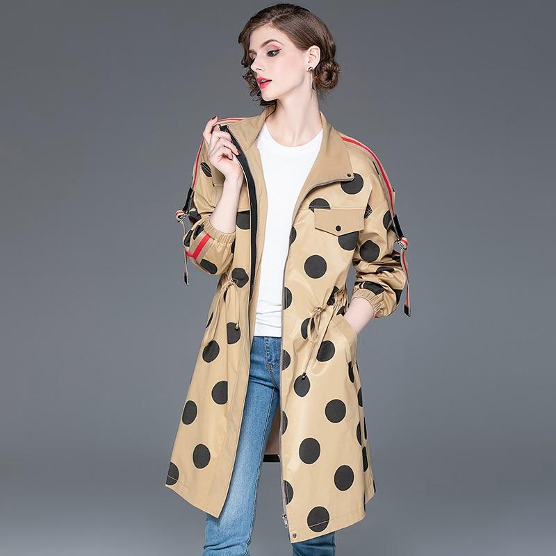Trench   Coat Women's 2019 Autumn Winter New Polka Dot Fashion Patchwork Long sleeves Zipper Casual Coat Women