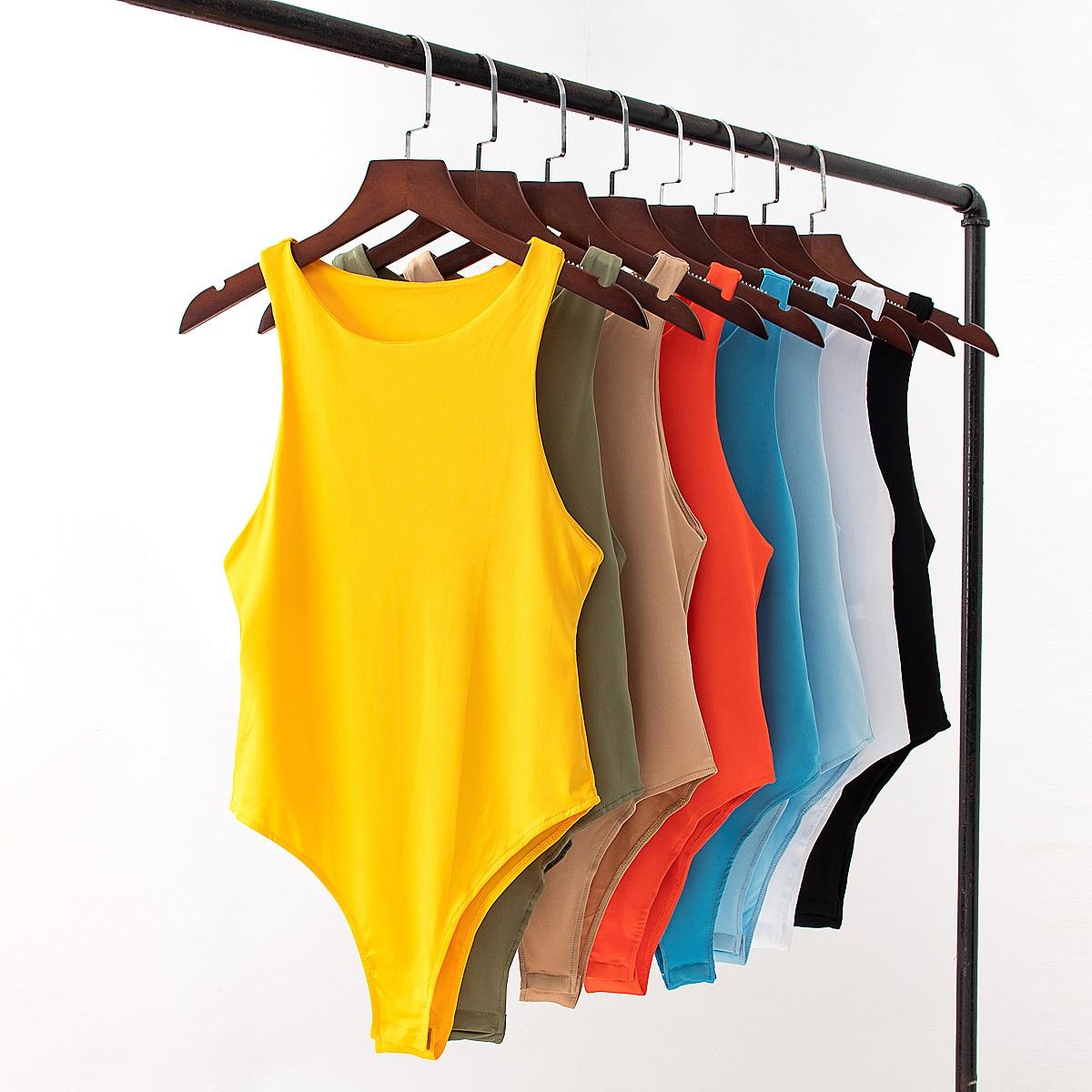 Tangada women sexy solid o neck sleeveless bodysuit big stretchy european fashion shirt playsuit QJ163