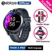 [Cinturini in pelle gratuiti] auricolari TWS nuovo amuleto Zeblaze THOR 5 PRO lunetta in ceramica 3GB + 32GB doppia fotocamera sblocco viso Smart Watch