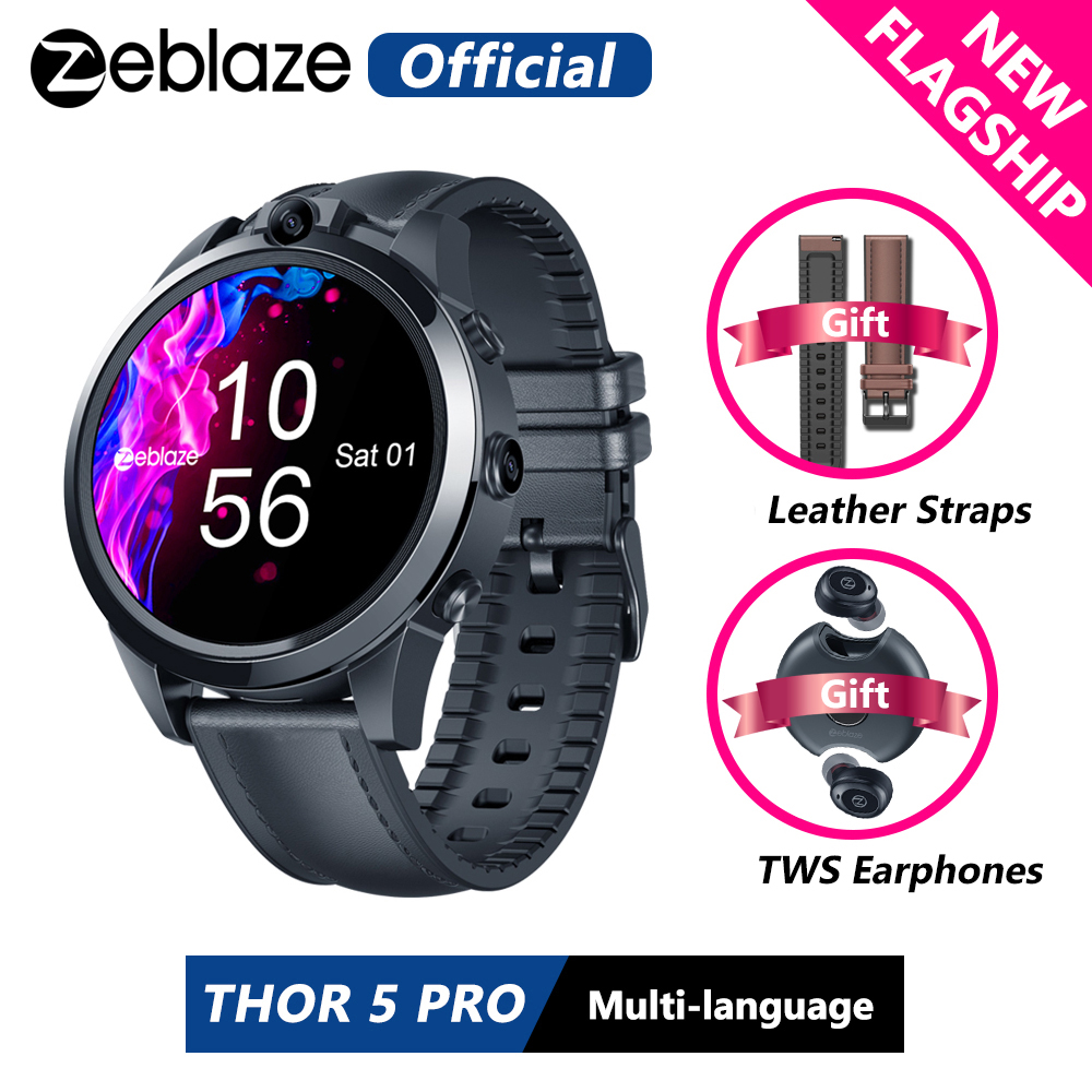 Hot DealsZeblaze Face Unlock Earphones Smart-Watch Flagship Ceramic Straps Dual-Camera Bezel 3GB