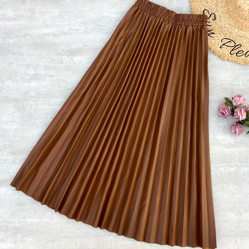 Women Maxi Skirts PU Leather Skirt Stretched Waist Office Lady Soft Leather Long Pleated Skirt Jupe Plissee Femme