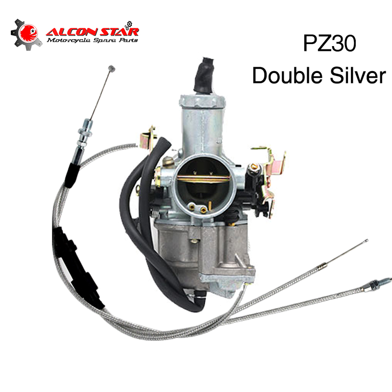 Alconstar PZ30 30mm Carburetor With Dual Throttle Cable Accelerating Pump Racing 200cc 250cc For Keihin ABM IRBIS TTR 250 image
